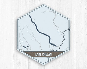 Lake chelan map | Etsy on
