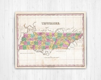 Tennessee State Map Etsy