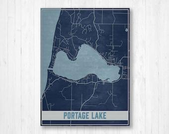 Portage Lake Michigan Map.Portage Lake Map Etsy