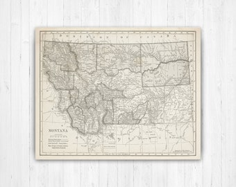 Montana State Map Etsy