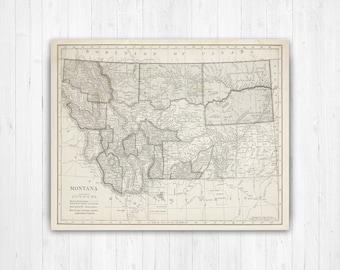Antique montana map | Etsy