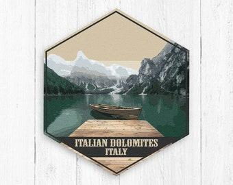 Italian Dolomites Linoprint