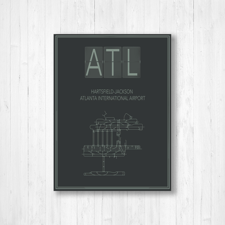 Hartsfield Jackson Atlanta International Airport Map Print, Atlanta ...