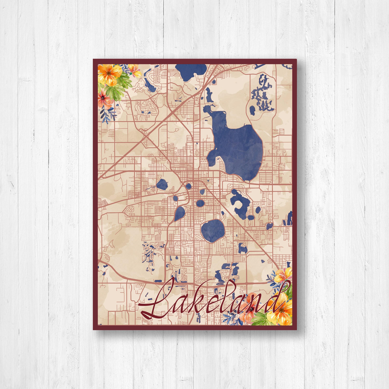 Map Of Watercolor Florida.Lakeland Florida Watercolor Map Watercolor Flowers Street Map