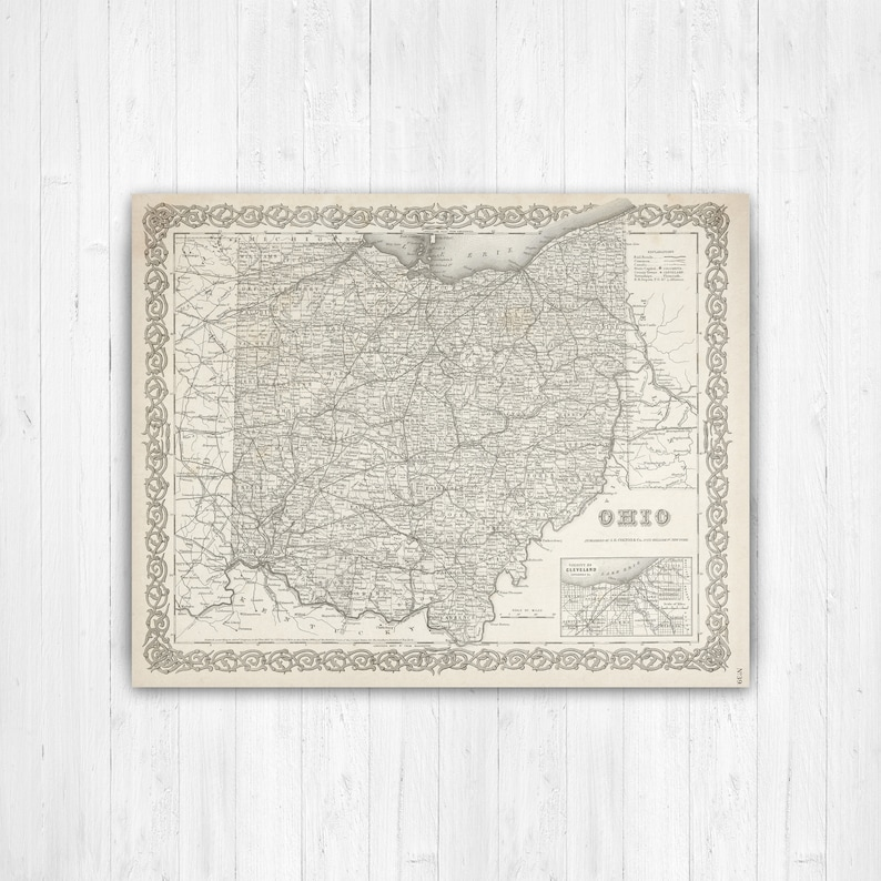 Map of Ohio Ohio State Map Ohio Wall Decor Ohio Map Wall | Etsy