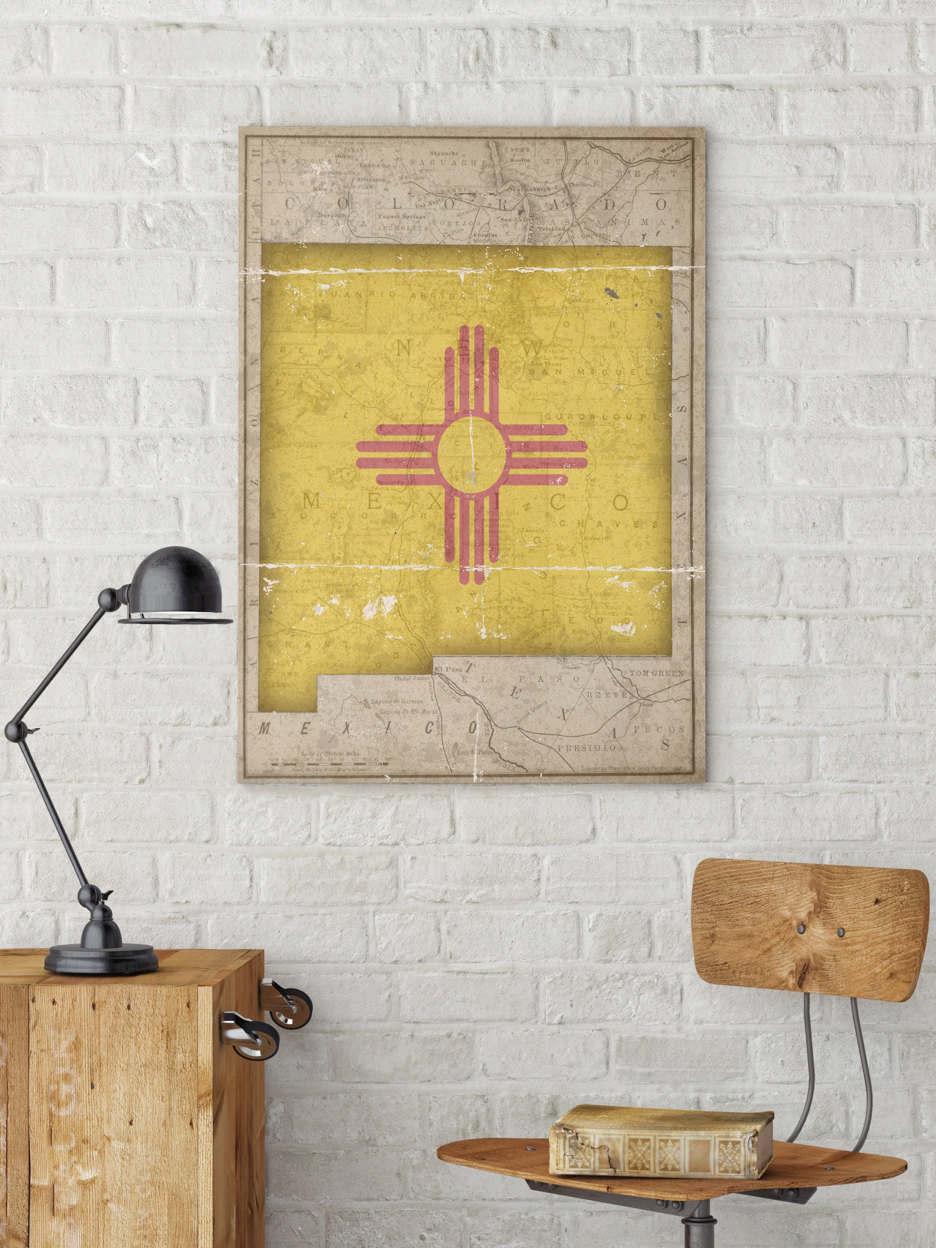 New Mexico, New Mexico State Map, Flag of New Mexico, Vintage Flag ...