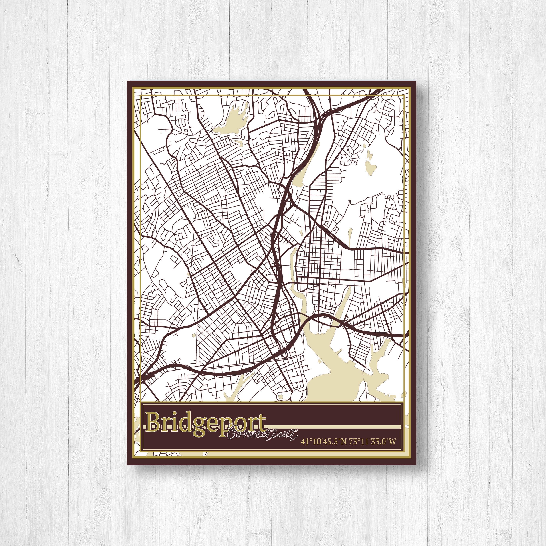 Bridgeport Street Map, Map of Bridgeport Connecticut, Map Print of ...