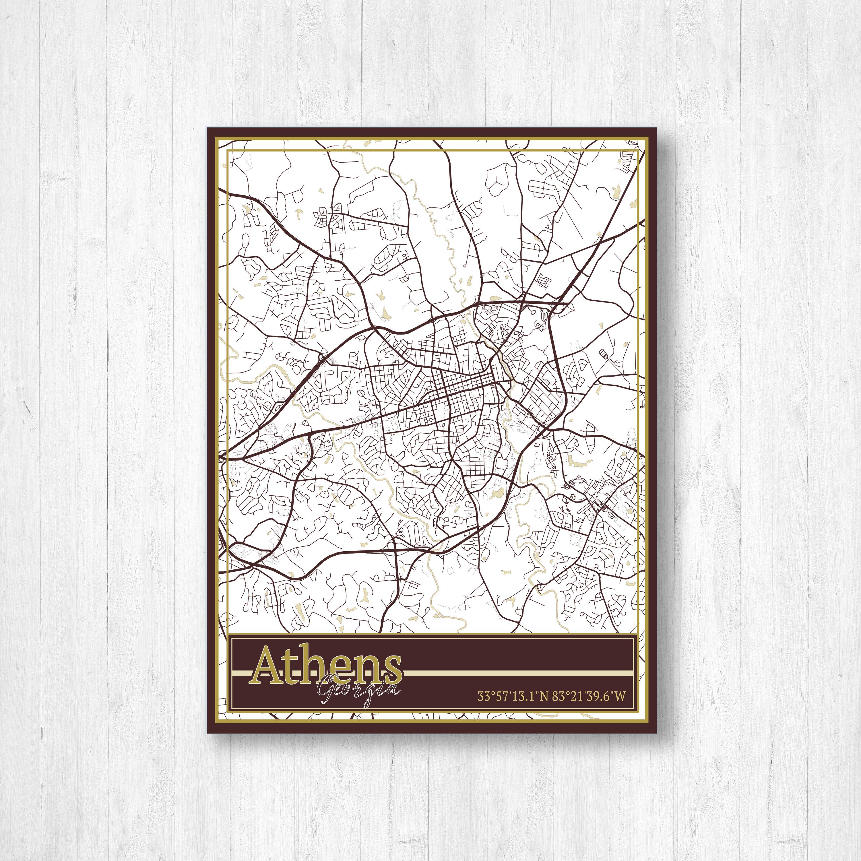 Map Of Georgia Athens.Athens Georgia Street Map Map Of Athens Georgia Map Print Of Athens Georgia Athens Georgia Print Map City Print Of Athens Georgia Map
