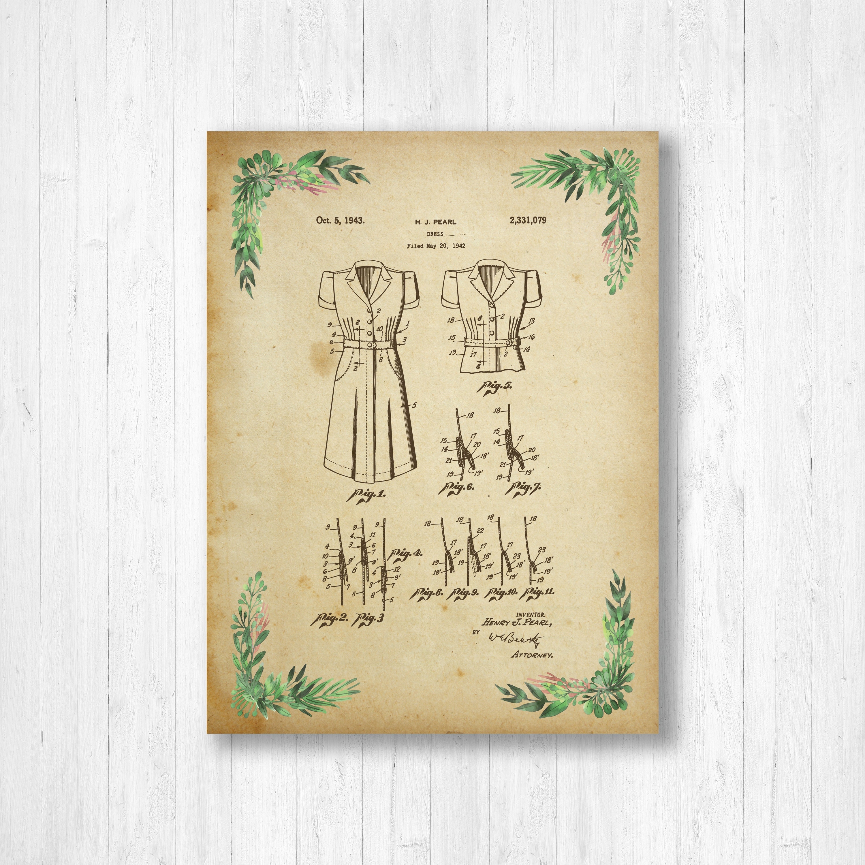Dress, Patent, Clothing, Floral Patent, Invention, Watercolor, Dress ...