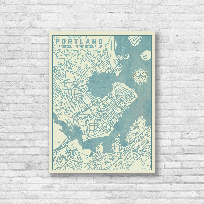 Portland, Maine, Vintage City Map, Map of Portland, Portland Street ...