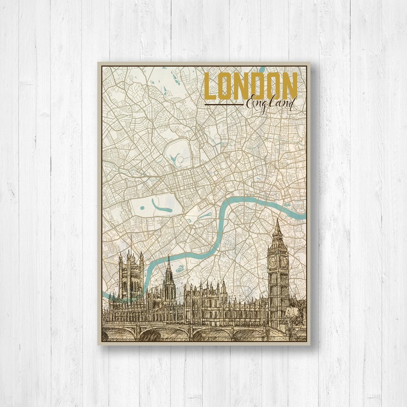 England And London Map.London England London Map Map Of London Big Ben Drawing Hand Drawn City Illustration City Map Street Map Vintage Drawing Wall Art