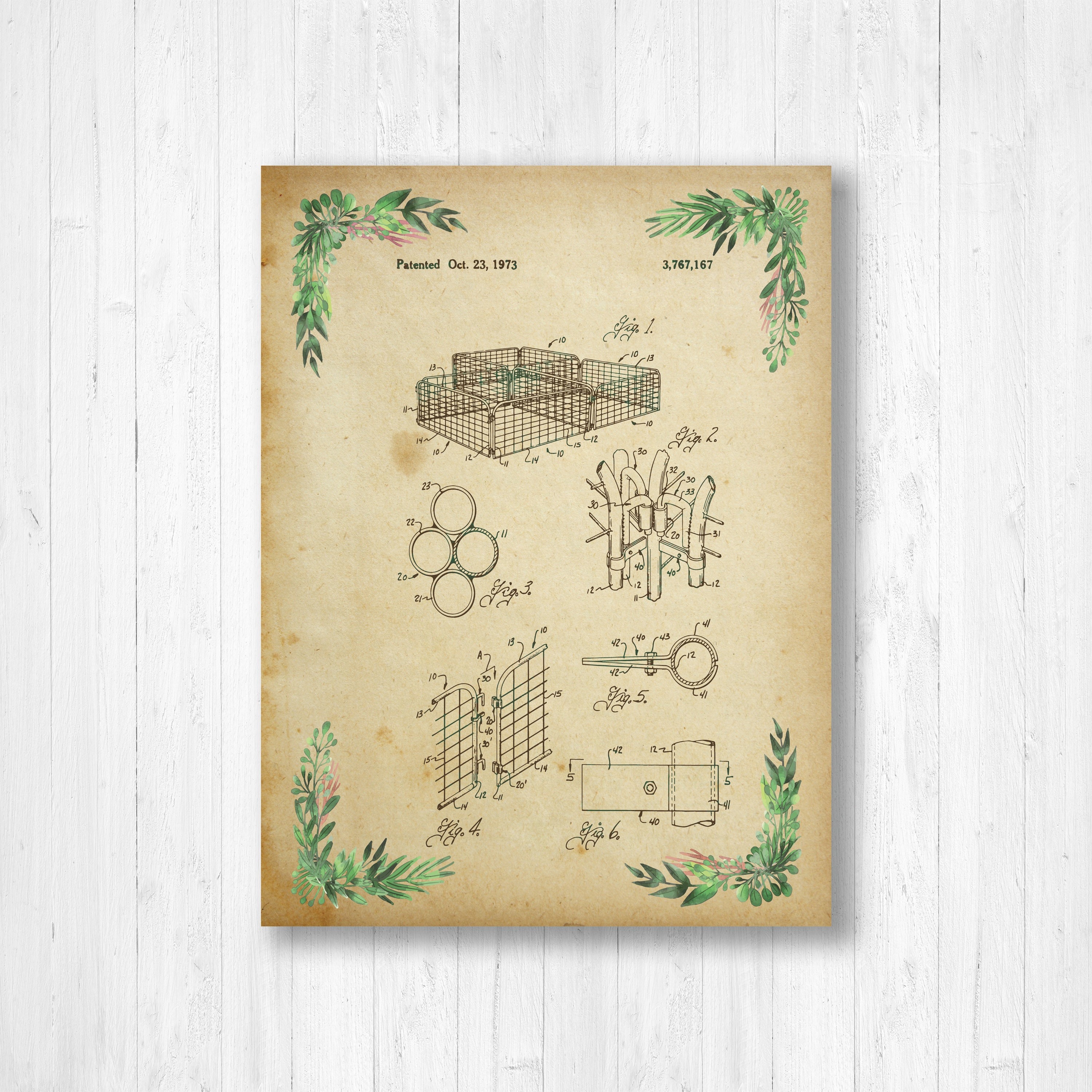 Fence, Patent, Garden, Floral Patent, Invention, Watercolor, Floral ...