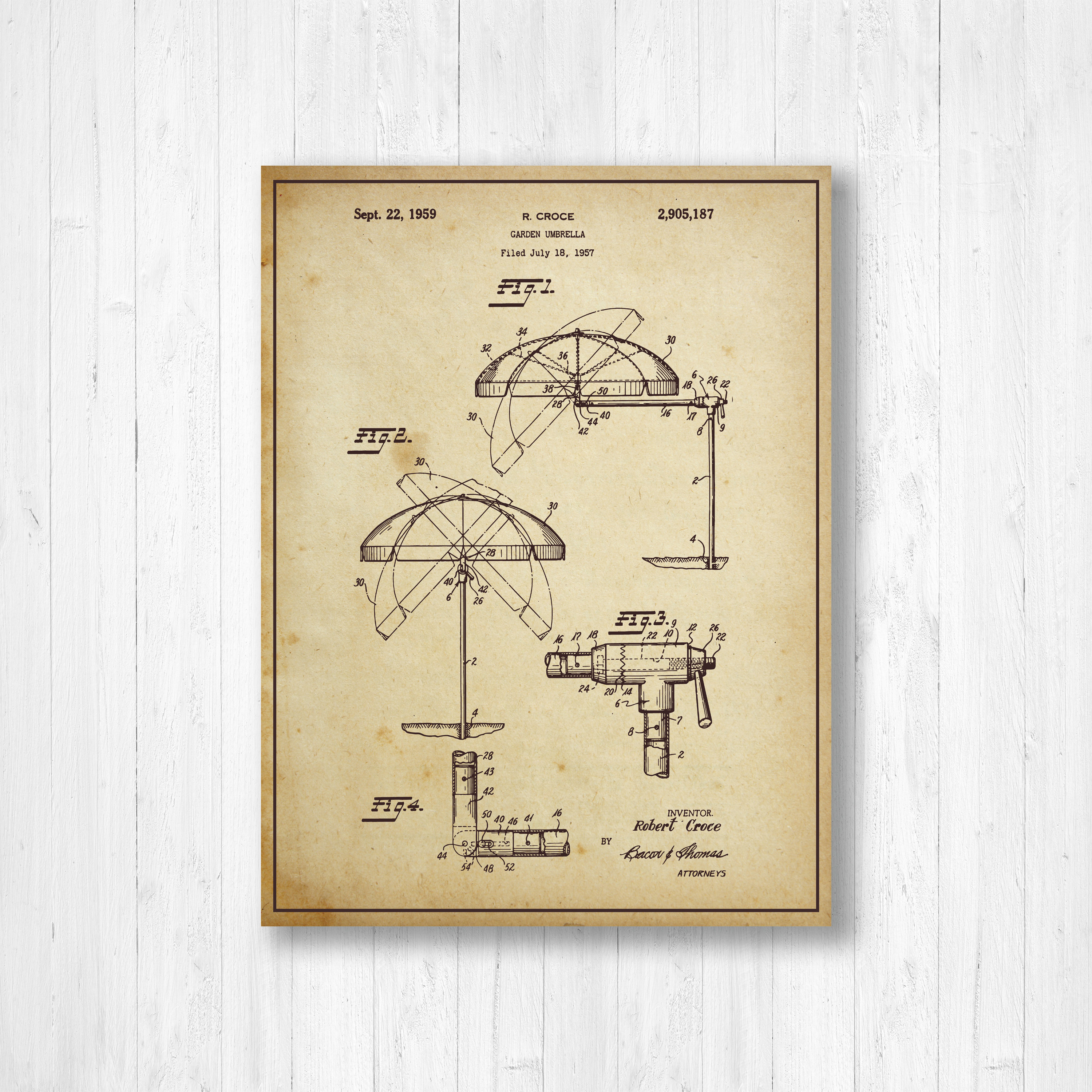 Umbrella, Patent, Gardening, Old Patent, Invention, Vintage Patent ...