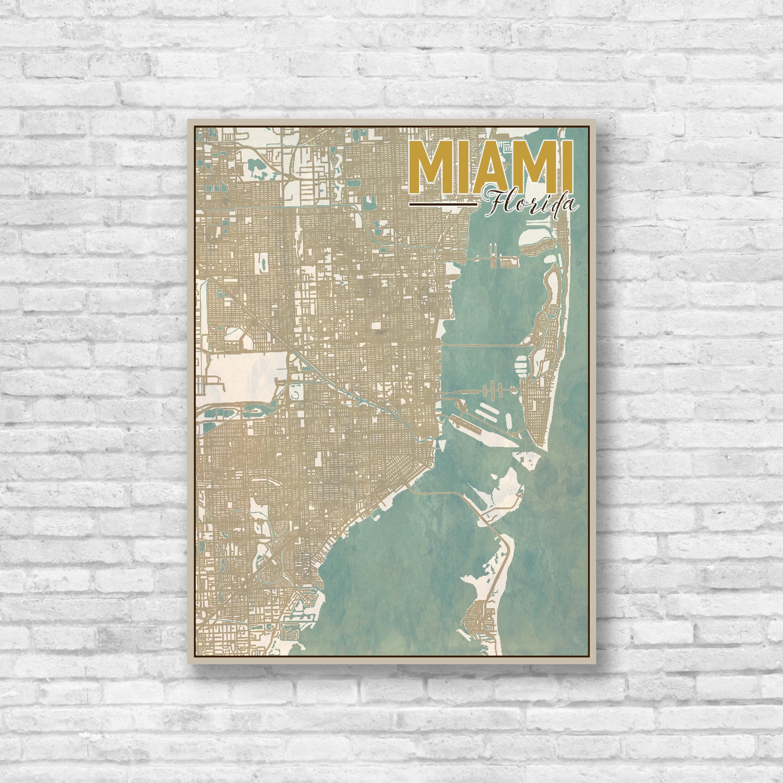 Miami, Florida, Miami City Map, Map of Miami, Map Print, Vintage Map ...