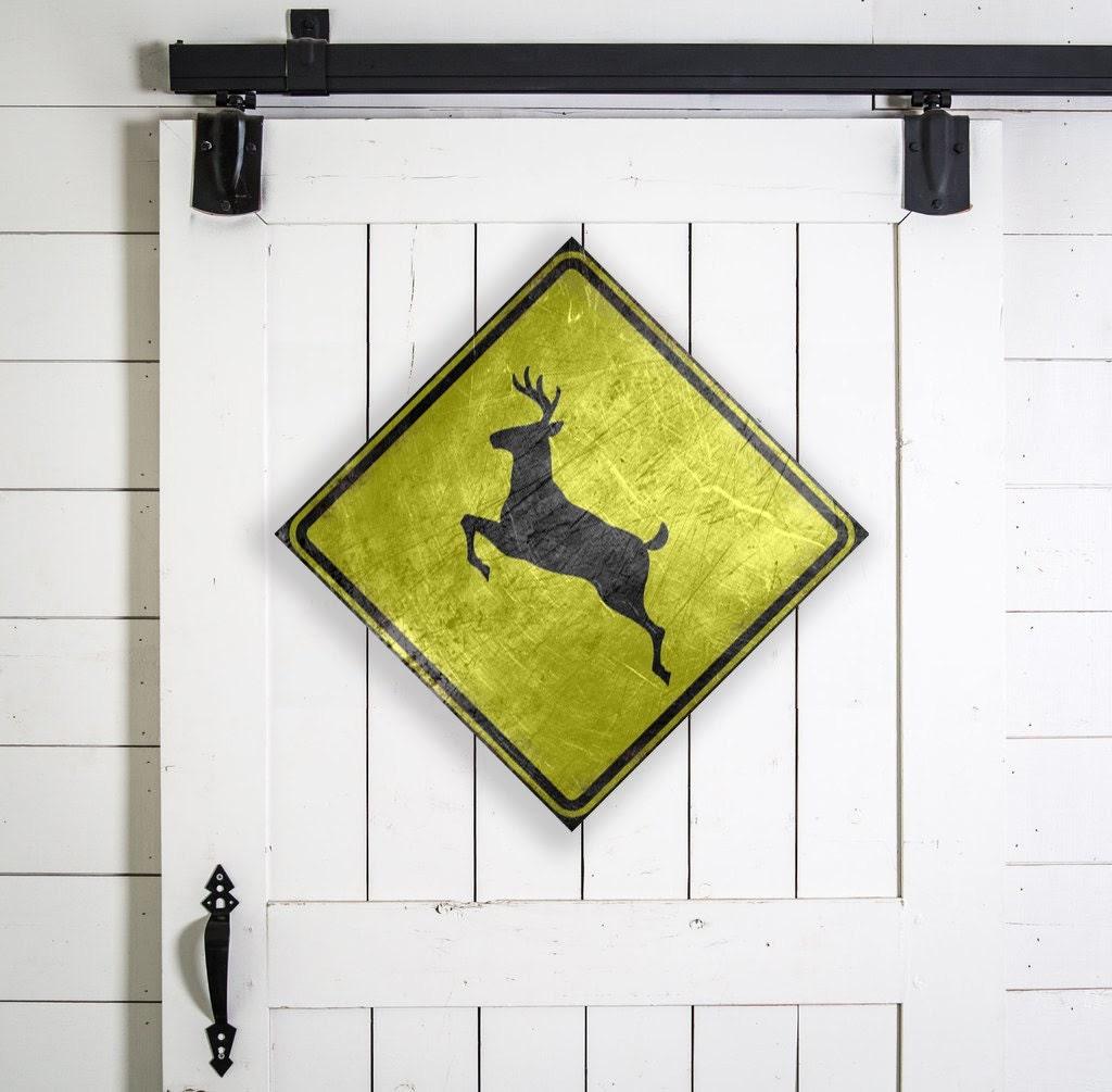 Deer Crossing Canvas Sign, Vintage Deer Crossing, Vintage Style ...