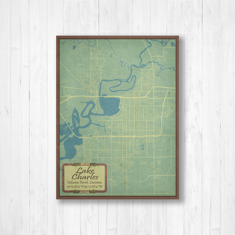 Lake Charles Louisiana Lake Charles Map Old Map Vintage Map Map