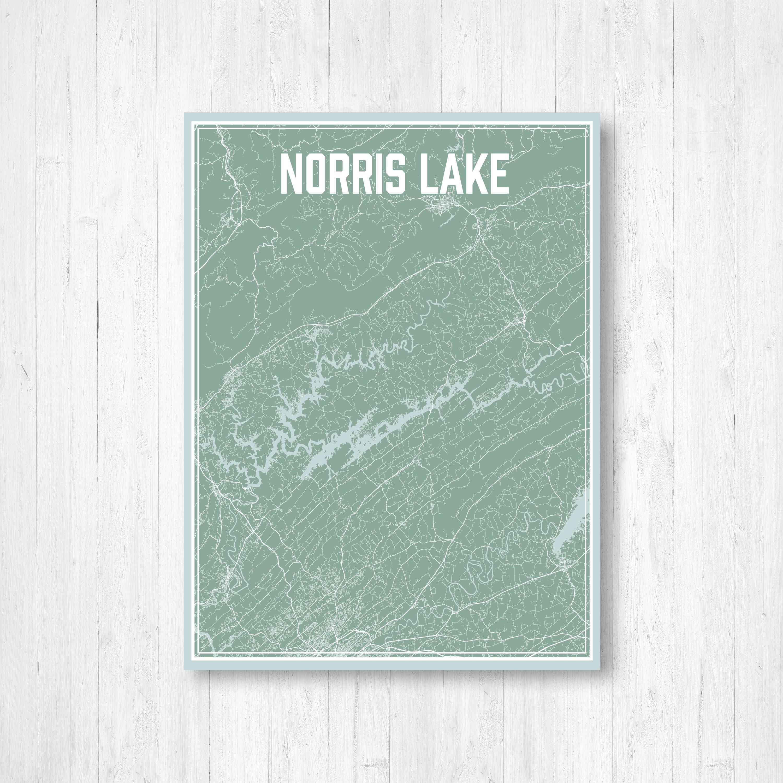 Norris Lake Tennessee Map.Norris Lake Tennessee Street Map Print Norris Lake Print Norris