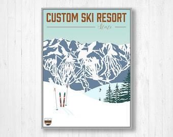 Custom Ski Resort Modern Illustration by Printed Marketplace