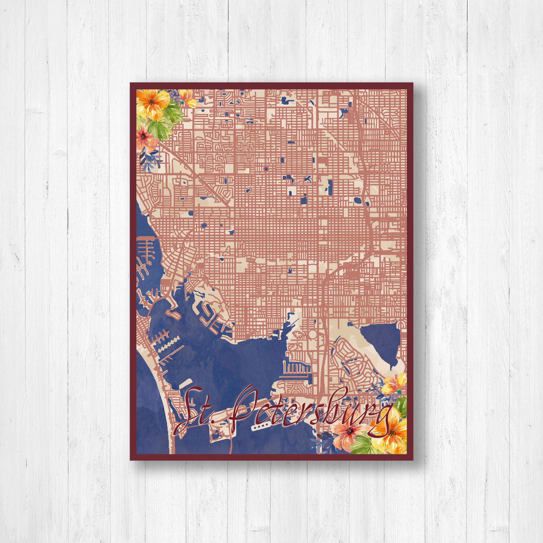 Map Of Watercolor Florida.St Petersburg Florida Watercolor Map Watercolor Flowers Street