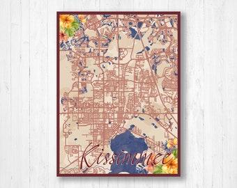 Kissimmee, Florida, Watercolor Map, Watercolor Flowers, Street Map, City Map, City Street Map, Map Print, Watercolor Art, Map of Kissimmee