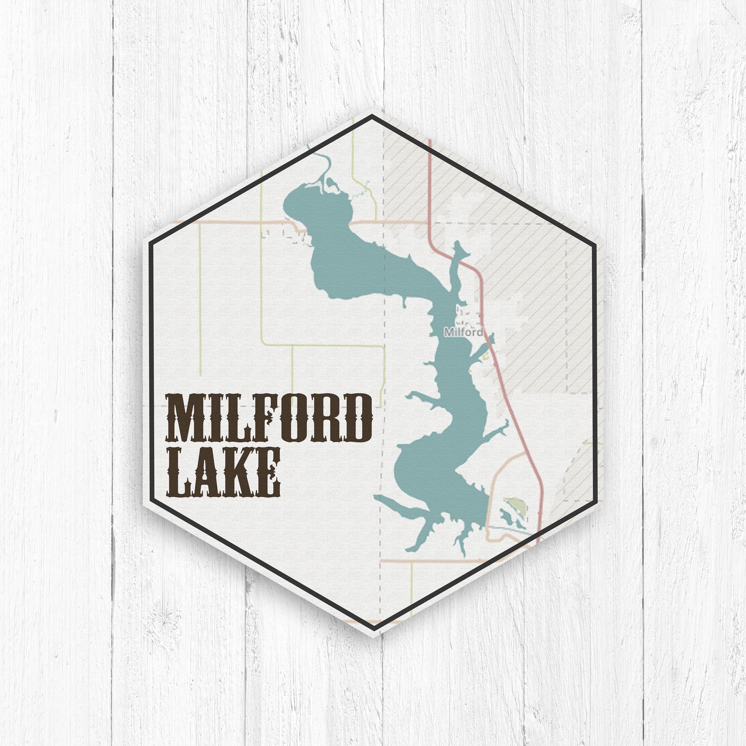 Milford Lake Kansas Map.Milford Lake Kansas Hexagon Canvas Milford Lake Canvas Lakes Of