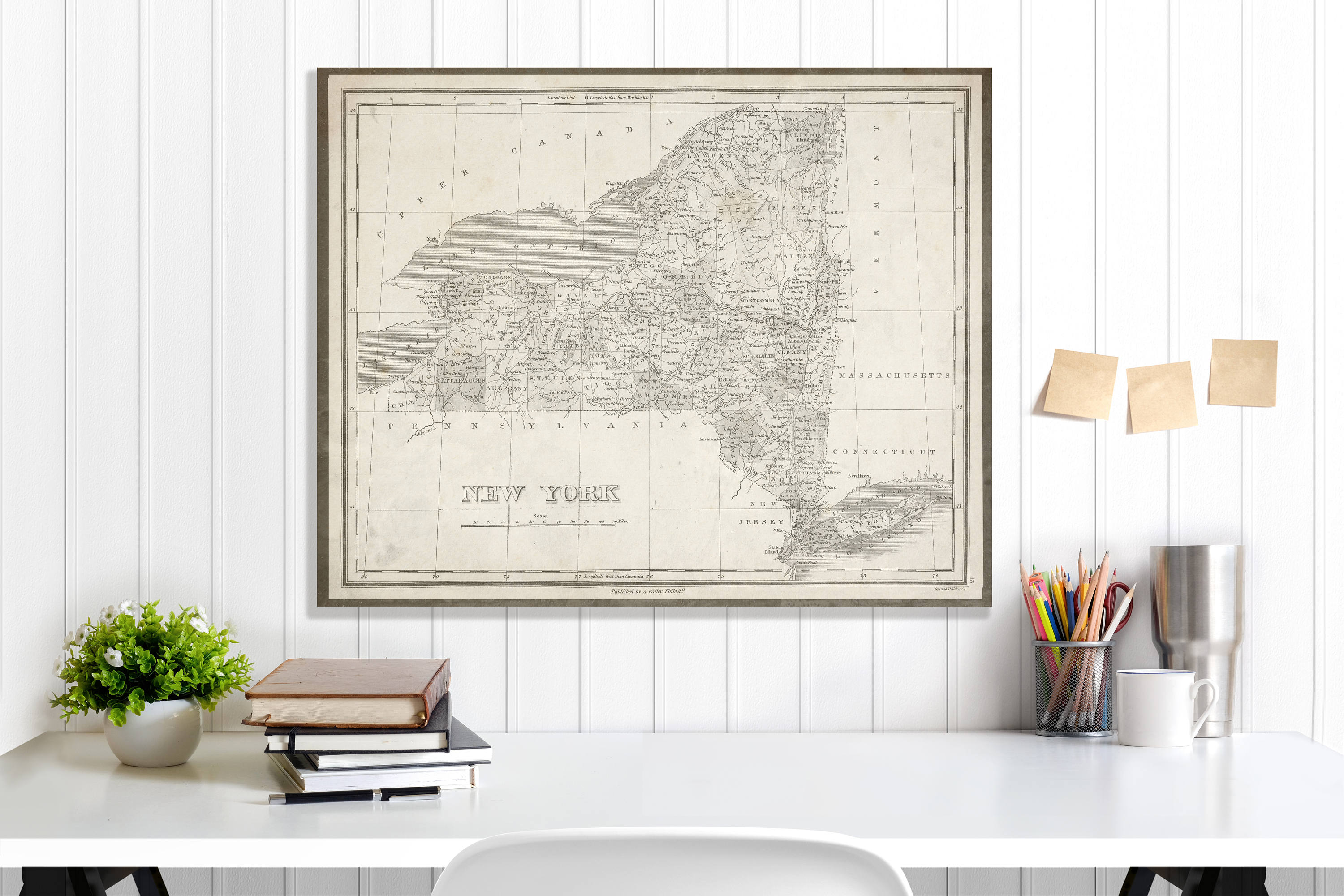 New York State Map New York Map Canvas Antiqued New York Map