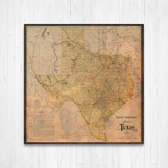 Texas State Map, Texas Map Canvas, Antiqued Texas Map, Canvas Wall Decor,  Texas Wall Decor, Map of Texas Canvas