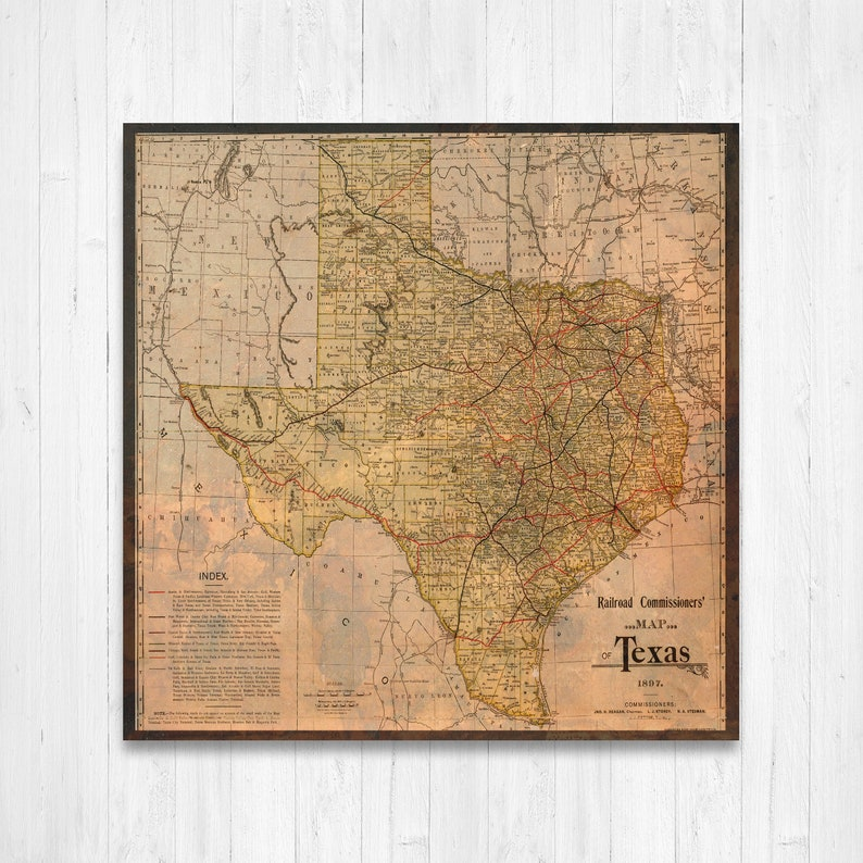 Texas State Map Texas Map Canvas Antiqued Texas Map Canvas | Etsy