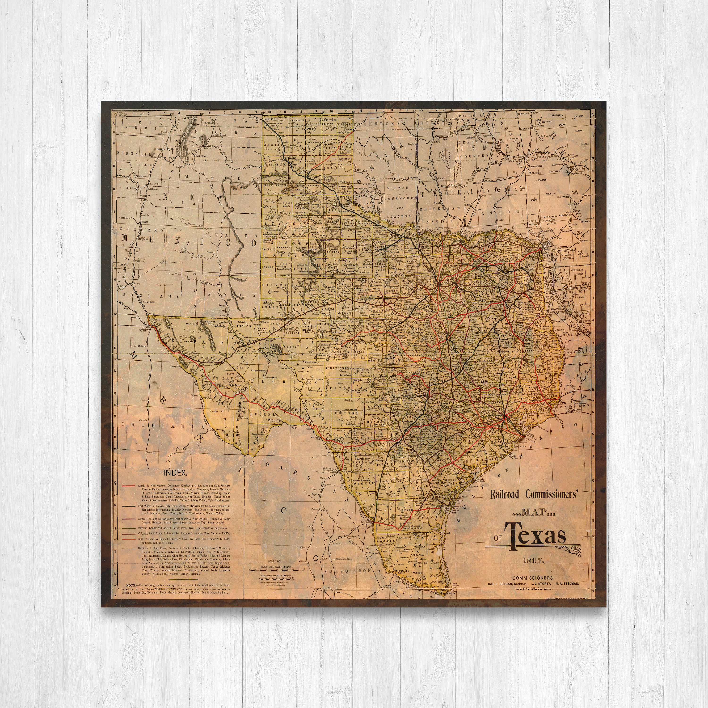 Full Map Of Texas.Texas State Map Texas Map Canvas Antiqued Texas Map Canvas Wall