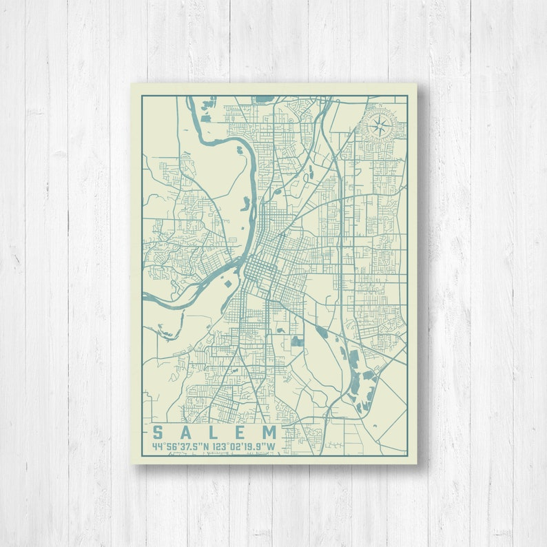 Salem, Oregon, Vintage City Map, Map Print, Salem Street Map, Salem Map,  Map of Salem, Wall Art, Map Art, Map Canvas, City Map, Street Map