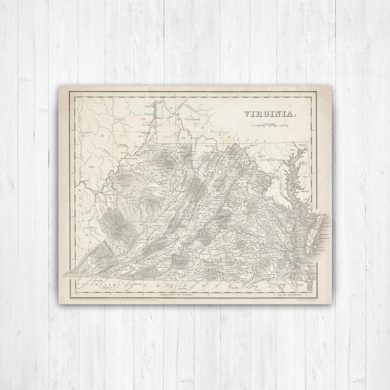 Map Of Virginia Virginia State Map Virginia Canvas Map Etsy