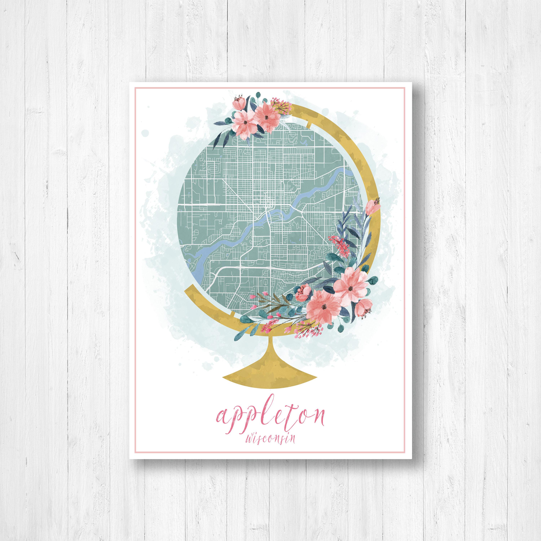 Appleton Wisconsin Street Map Appleton City Map Globe Globe Map