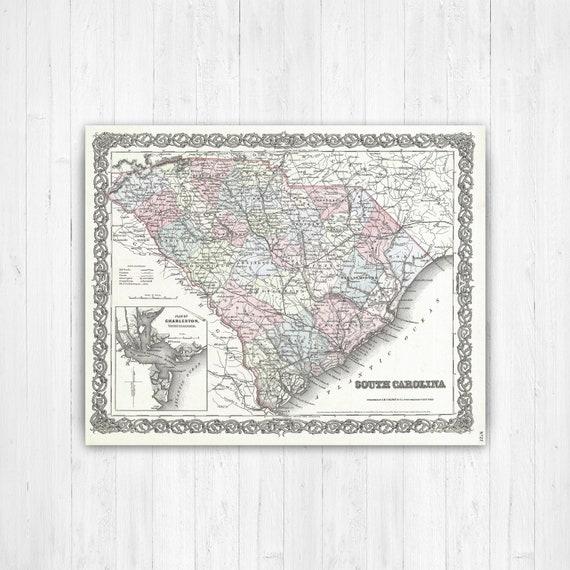 South Carolina State Map, South Carolina Map Canvas, Antiqued South  Carolina Map, South Carolina Wall Decor, Map of South Carolina Canvas