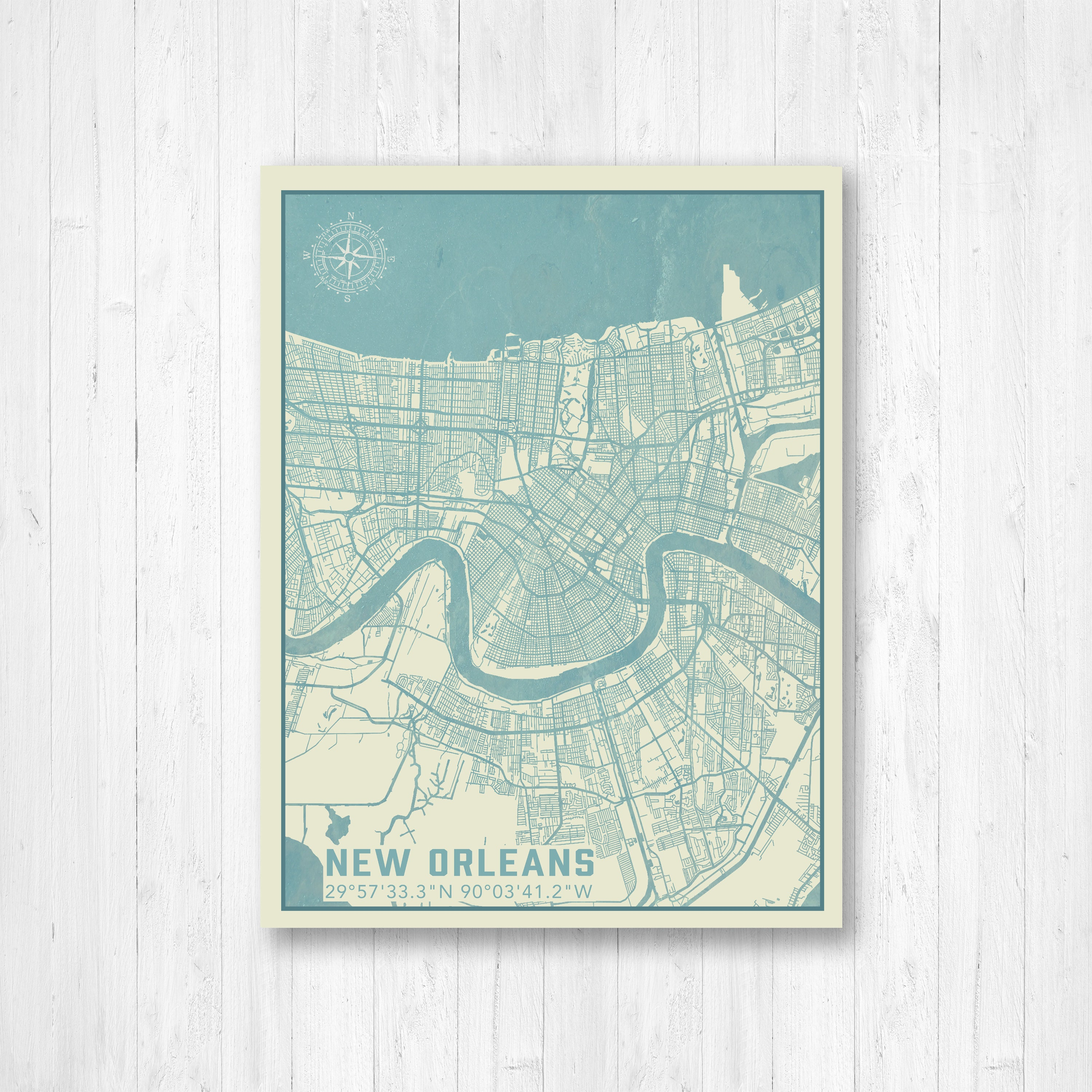 New Orleans Louisiana Map Map Print New Orleans Map New Orleans