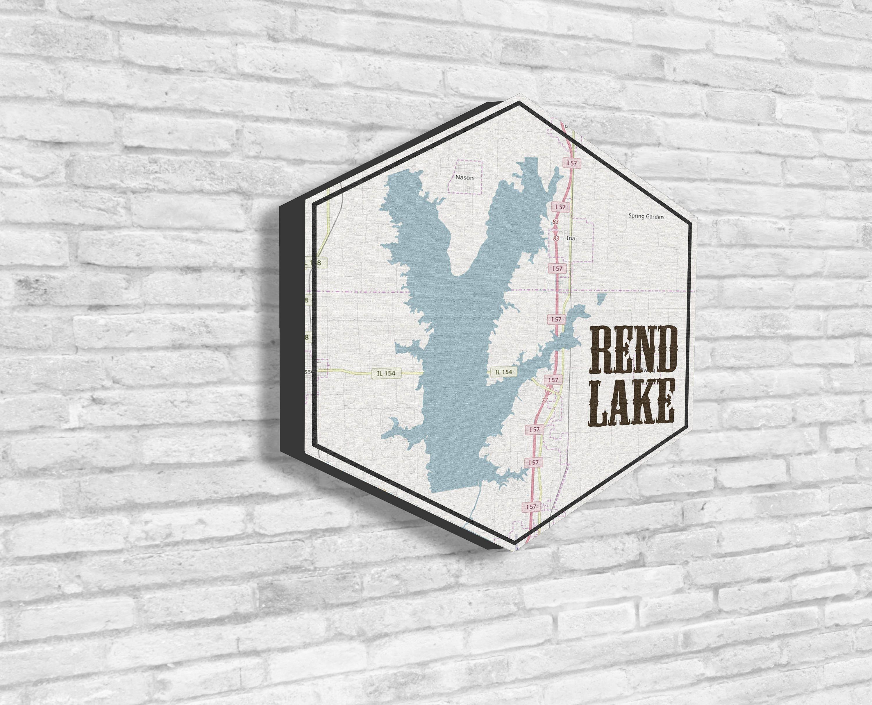 Rend Lake Illinois Map.Rend Lake Rend Lake Canvas Lakes Of America Nautical Map Hexagon