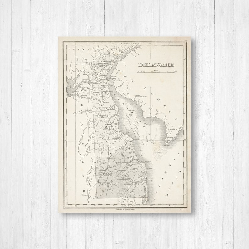 Delaware State Map Map of Delaware Delaware Canvas Map | Etsy on