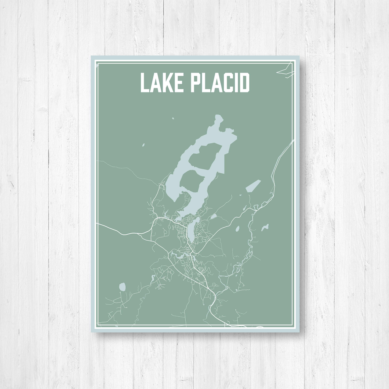 Lake Placid New York Map.Lake Placid New York Street Map Print Lake Placid Print Lake