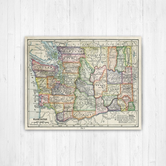 Washington State Map, Washington Map Canvas, Antiqued Washington Map,  Canvas Wall Decor, Washington Wall Decor, Map of Washington Canvas