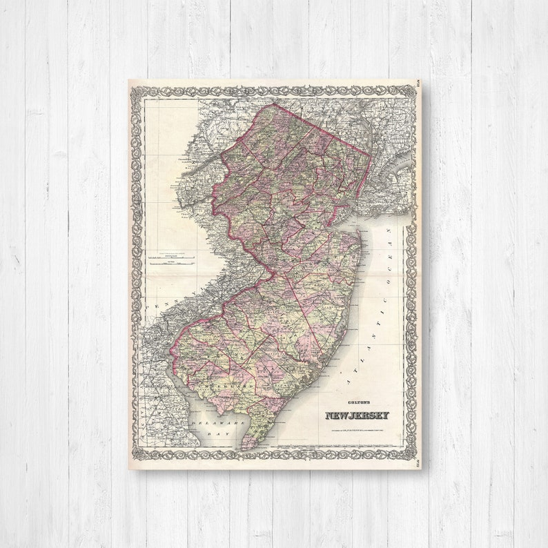 New Jersey State Map New Jersey Map Canvas Antiqued New | Etsy