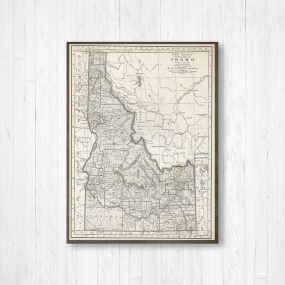 Map of Idaho, Idaho State Map, Idaho Canvas Map, Antique Idaho Map, Canvas  Map, Idaho Map Art, Idaho Map Wall Hanging, Old Idaho Map, Maps