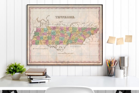 Tennessee State Map Tennessee Map Canvas Antiqued Tennessee Etsy