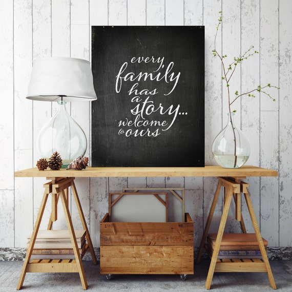 Every Family Has A Story Canvas Sign Black And White Canvas Etsy