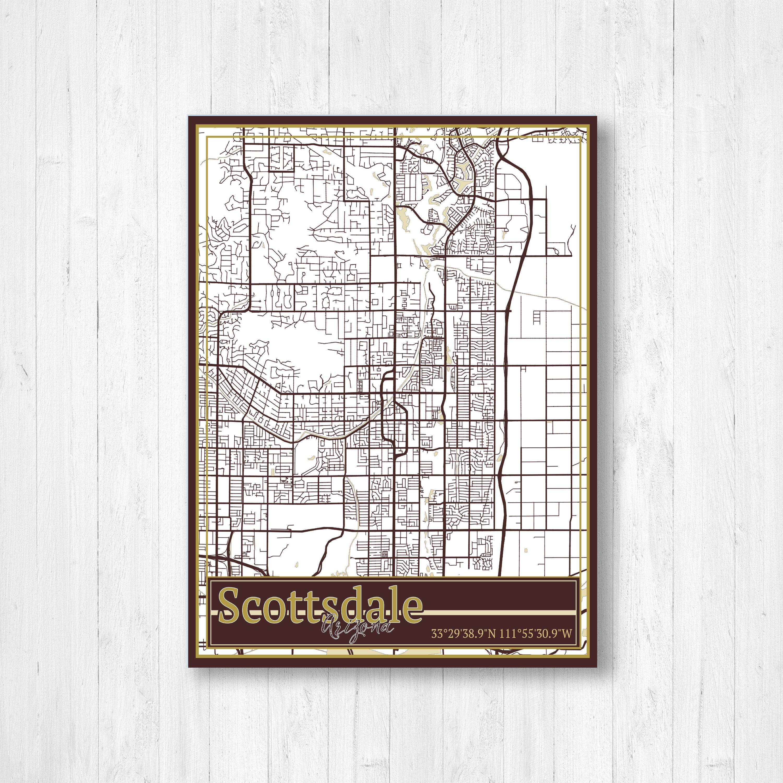 Map Of Arizona Scottsdale.Scottsdale Arizona Street Map Scottsdale Arizona Map Print Of