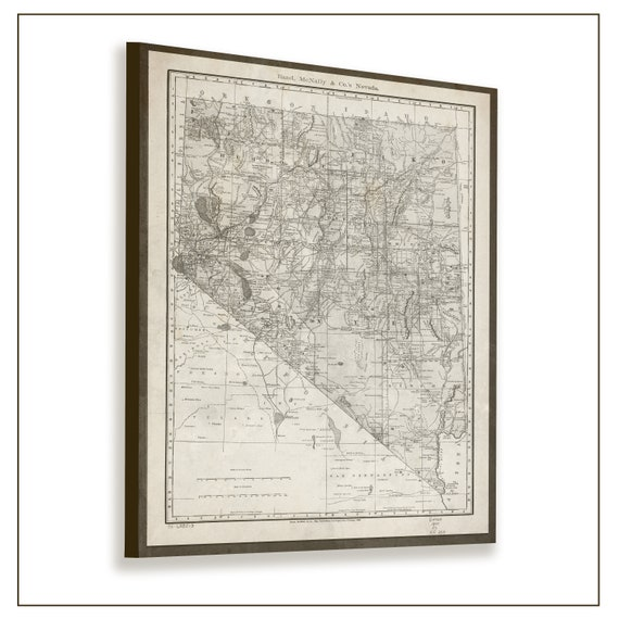Nevada State Map Map Of Nevada Antique Nevada Map Nevada Etsy