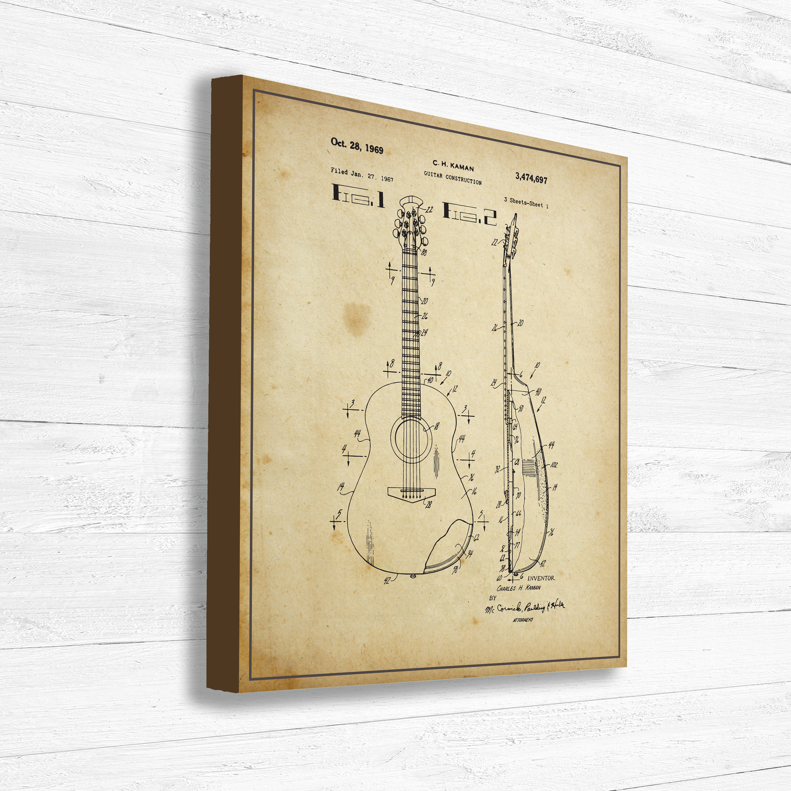 Guitar, Patent, Music, Old Patent, Invention, Vintage Patent, Guitar ...