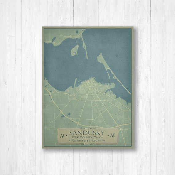 Sandusky, Ohio, Vintage Style Map, Sandusky Map, Map of Sandusky, Sandusky on elyria city map, waxahachie city map, springboro city map, dunkirk city map, grinnell city map, encinitas city map, traverse city city map, zeeland city map, hancock city map, cuyahoga city map, hemet city map, boardman city map, ironwood city map, west carrollton city map, pomeroy city map, geauga county city map, potterville city map, ludington city map, novi city map, ravenna city map,
