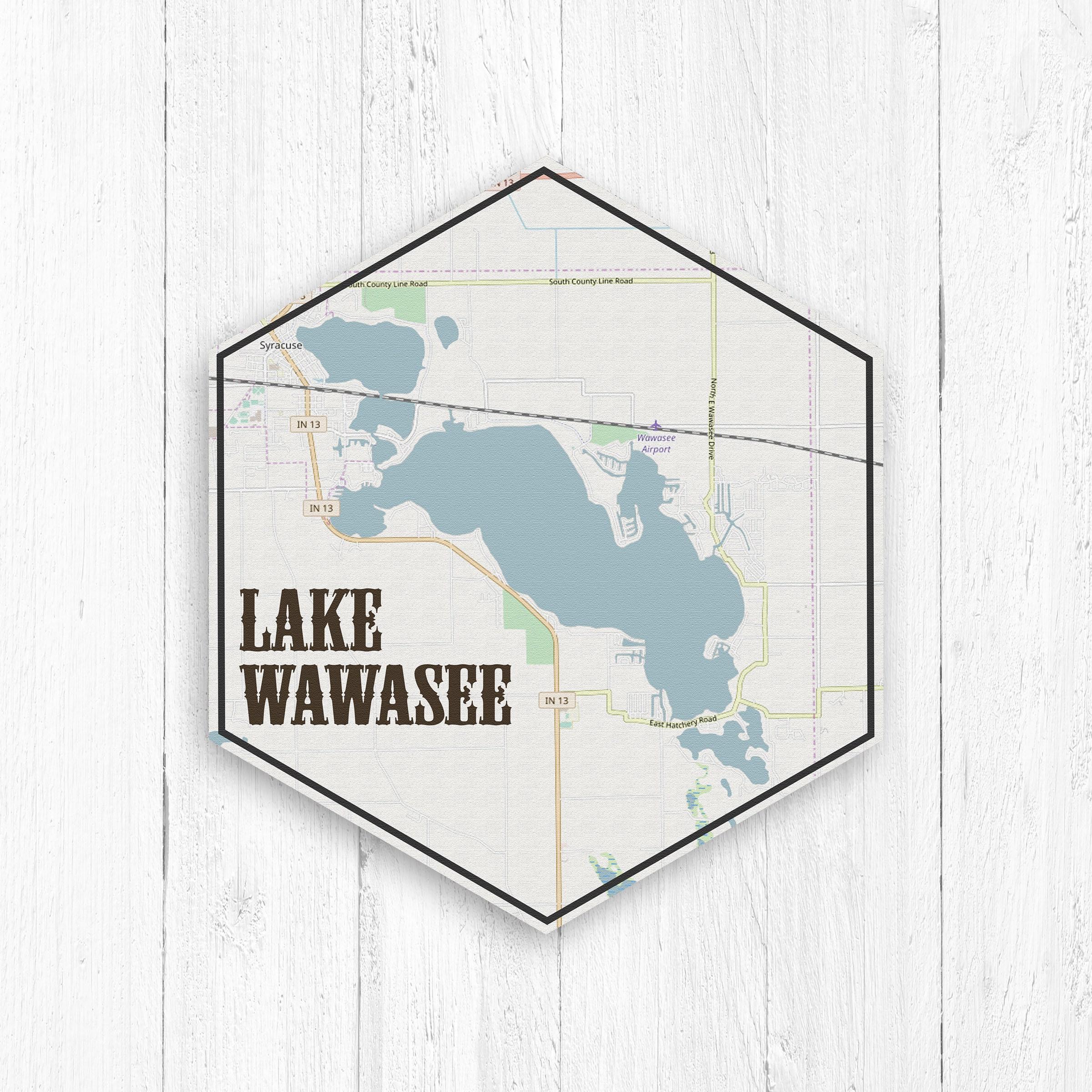 Lake Wawasee Indiana Hexagon Canvas, Lake Wawasee Canvas, Lakes of America,  Nautical Map, Travel Collection, Lake Wawasee Indiana Lake Print