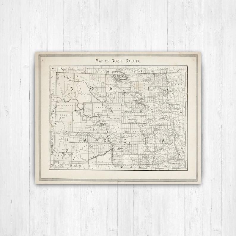 Map of North Dakota, North Dakota, State Map, North Dakota Canvas, Map,  Antique, North Dakota Map, Wall Decor, North Dakota Wall Art, Art