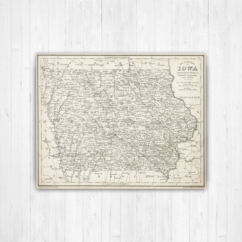 Map of Iowa Iowa State Map Iowa Map Canvas Antiqued Iowa | Etsy
