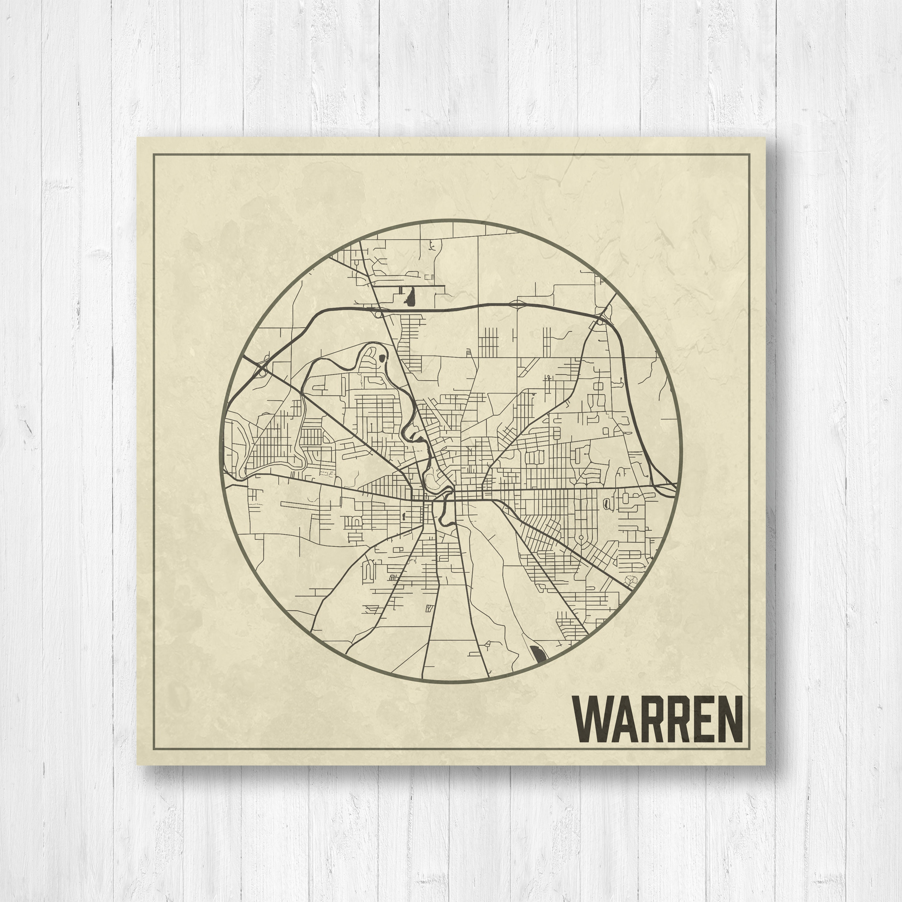 Warren Ohio Warren Street Map Map With Streets Weathered Map